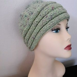 Hand knit womans winter hat